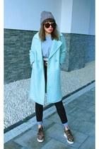 light blue VIPshop coat - beige Carhartt hat