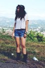 Black-steve-madden-boots-denim-greenhills-shorts-white-forever-21-top