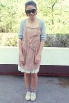 dress - flats - cardigan
