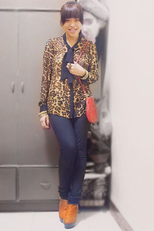 light brown Pink Manila blouse - brown boots - jeggings jeans - red bag
