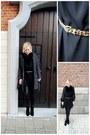 Black-h-m-dress-black-h-m-jacket-bronze-bershka-belt-black-h-m-pants