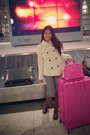 brown Payless boots - ivory Uniqlo coat - hot pink bag