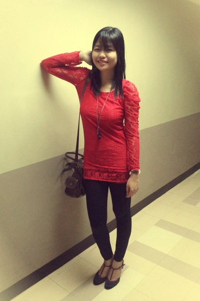 Red Lace Young Wild Free Dresses Black Tights Red Lace
