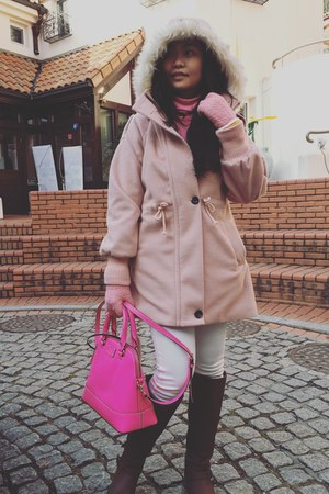 dark brown Payless boots - hot pink bag - pink Uniqlo top - white Uniqlo pants