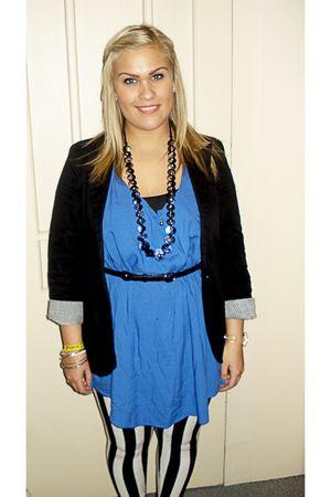 blue vintage dress - black Kow tights - silver Spaksmannsspjarir necklace - blac