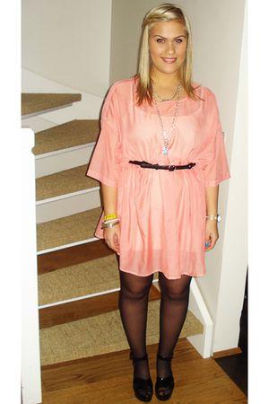 pink Monki dress - silver Tous necklace - black Ebay shoes - black Zara belt