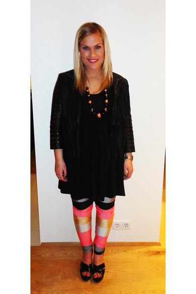 black Andrea dress - black H&M jacket - coral Andrea leggings