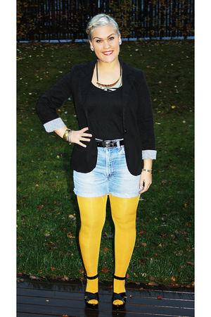 blue vintage levis shorts - yellow Orublu tights - black random brand blazer - b