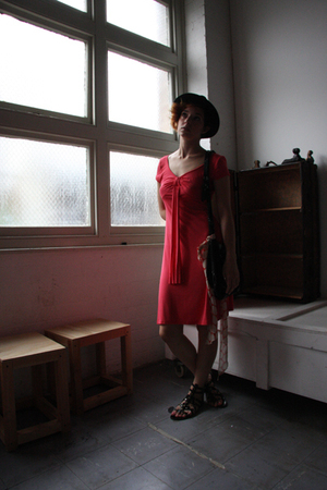 red Marks and Spencers dress - black Dotti hat - black shoes
