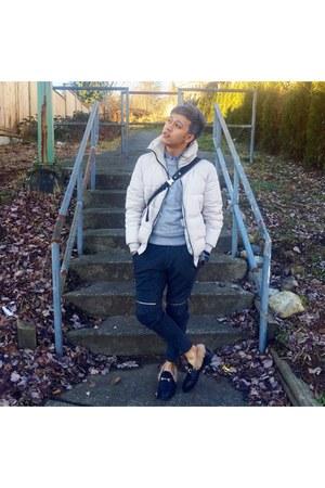 white Zara jacket - black Gucci shoes - heather gray sweater