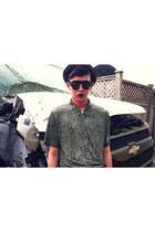 black vintage glasses - olive green thrifted vintage shirt