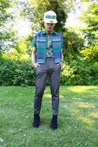 Kenzo hat - Topshop shirt - Topshop heels - Topshop pants