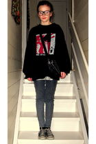 gray H&M pants - black Converse shoes - black vintage sweater - black lindex pur