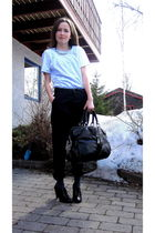 black BikBok pants - black H&M belt - blue H&M t-shirt - silver husfliden neckla