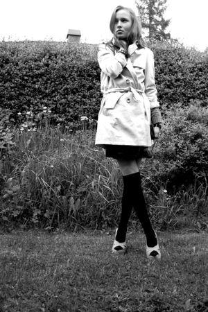 beige Zara coat - black homemade stockings - beige highlife shoes - black H&M sk