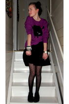 black Forever21 leggings - black H&M shoes - black H&M skirt - purple Monki top