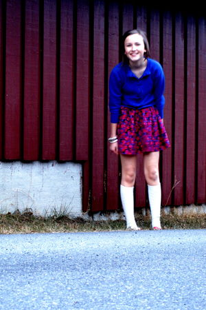 blue trifted cardigan - red BikBok skirt - white H&M socks - white BikBok bracel
