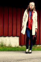 beige Zara coat - silver Monki accessories - red vintage scarf - blue Cheap Mond