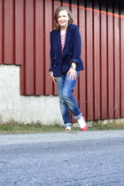 blue Monki blazer - blue Voice of Europe pants - red Dunnes shoes - red H&M top