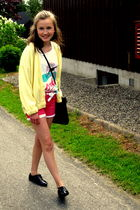 trifted cardigan - vintage purse - H&M shoes - BikBok shorts - trifted top