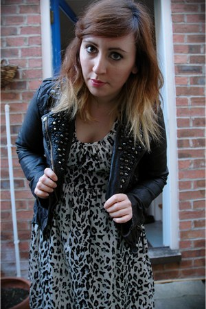 black leather jacket All Saints jacket - off white leopard print Topshop dress