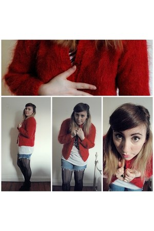 red vintage cardigan - black Primark tights - blue denim cut offs Oasis shorts