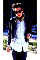 vintage jacket - Louis Vuitton scarf - YSL shirt - Ray Ban glasses