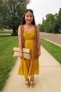 Maxi-dress-xhilaration-dress-folding-clutch-diy-purse-brown-fringe-h-m-vest