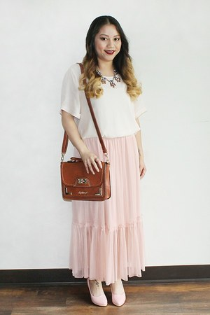 pink calf chiffion Forever 21 skirt - brown messenger bag My Mini Mee bag