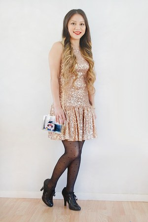 black Payless boots - gold sequins Poshmark dress