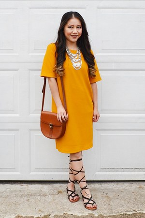 mustard Forever 21 dress - tawny from japan purse