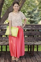 lime green studded purse DIY purse - eggshell Forever 21 top - Target skirt
