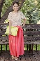 lime green studded purse DIY purse - eggshell Forever 21 top - Target skirt