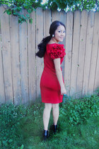 red Forever 21 dress - black korea boots