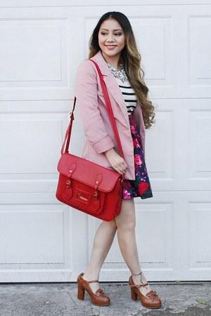 merona sweater - pink H&M blazer - red bag - Target skirt - brown laofers heels