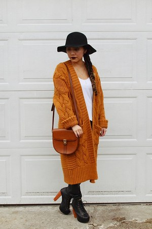 burnt orange Harajuku cardigan - black thick boots from Korea boots