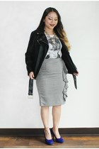 black leather Forever 21 jacket - white sequin eyes DIY purse