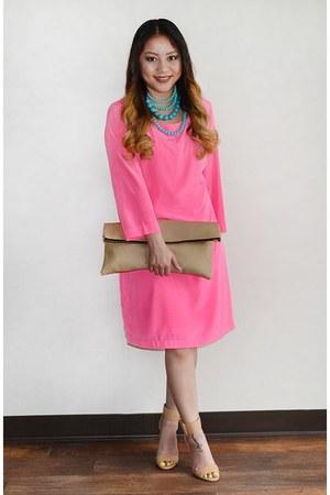 camel DIY purse - hot pink Old Navy dress - nude strap heels Nasty Gal heels