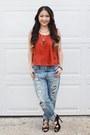 Blue-boyfriend-jeans-target-jeans-black-lace-from-korea-heels