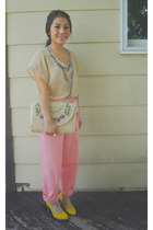 ivory Thrift Store purse - mustard taiwan pumps - bubble gum Thrift Store pants