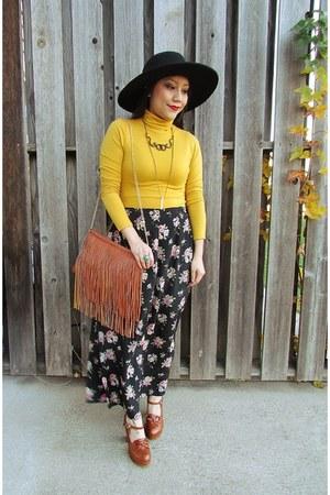 floral skirt Forever 21 skirt - black Forever 21 hat