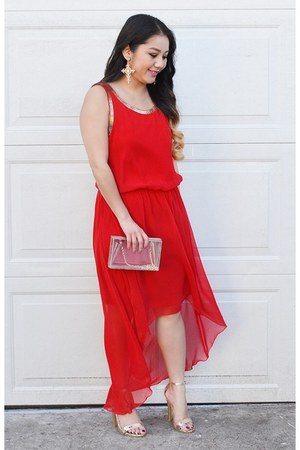 red chiffon Marshalls dress - transparent Forever21 purse