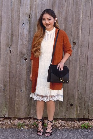 burnt orange knitted Missoni cardigan - ivory knitted lace Charlotte Russe dress
