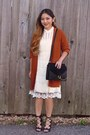 Ivory-knitted-lace-charlotte-russe-dress-black-diy-purse