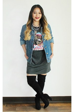 blue denim Forever 21 jacket - black thigh high Aldo boots
