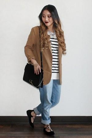 light blue Target jeans - stripes merona sweater - light brown Forever 21 blazer