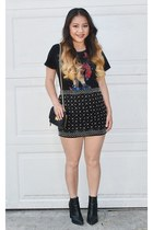 black asos boots - black quilted Mossimo purse - black Forever 21 skirt