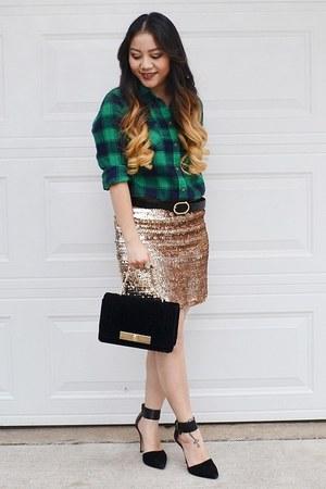 green plaid shirt - black velvet Mossimo purse - gold sequin Marshalls skirt