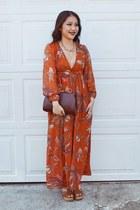 gold DIY ring - burnt orange 70s florals H&M dress