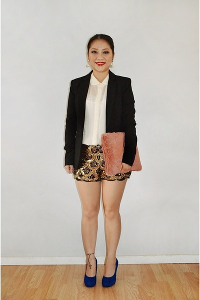 black H&M blazer - pink fur DIY purse - Poshmark shorts